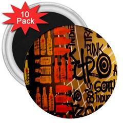 Graffiti Bottle Art 3  Magnets (10 Pack)