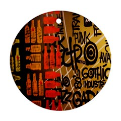 Graffiti Bottle Art Round Ornament (Two Sides)