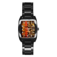 Graffiti Bottle Art Stainless Steel Barrel Watch