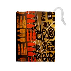 Graffiti Bottle Art Drawstring Pouches (Large)