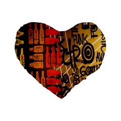 Graffiti Bottle Art Standard 16  Premium Flano Heart Shape Cushions