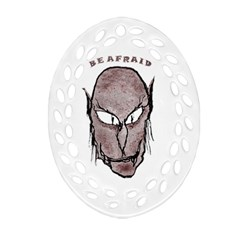 Scary Vampire Drawing Oval Filigree Ornament (Two Sides)