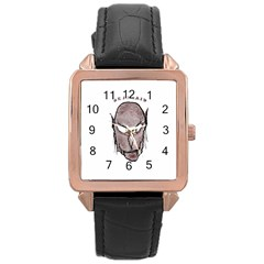 Scary Vampire Drawing Rose Gold Leather Watch
