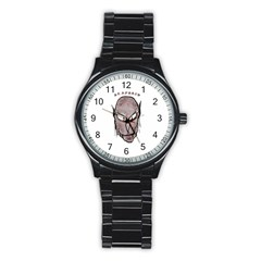 Scary Vampire Drawing Stainless Steel Round Watch