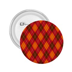 Argyle Pattern Background Wallpaper In Brown Orange And Red 2.25  Buttons