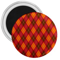 Argyle Pattern Background Wallpaper In Brown Orange And Red 3  Magnets
