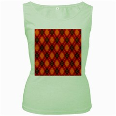 Argyle Pattern Background Wallpaper In Brown Orange And Red Women s Green Tank Top