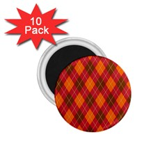 Argyle Pattern Background Wallpaper In Brown Orange And Red 1 75  Magnets (10 Pack)