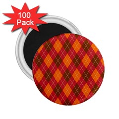 Argyle Pattern Background Wallpaper In Brown Orange And Red 2 25  Magnets (100 Pack)