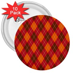 Argyle Pattern Background Wallpaper In Brown Orange And Red 3  Buttons (10 pack)