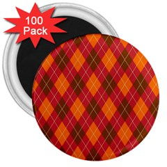 Argyle Pattern Background Wallpaper In Brown Orange And Red 3  Magnets (100 Pack)