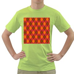 Argyle Pattern Background Wallpaper In Brown Orange And Red Green T-Shirt