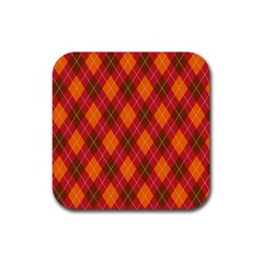 Argyle Pattern Background Wallpaper In Brown Orange And Red Rubber Coaster (square)