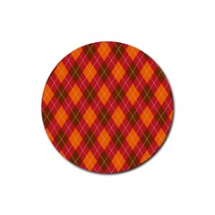 Argyle Pattern Background Wallpaper In Brown Orange And Red Rubber Round Coaster (4 Pack)