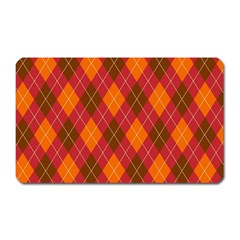 Argyle Pattern Background Wallpaper In Brown Orange And Red Magnet (rectangular)