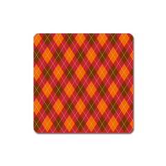 Argyle Pattern Background Wallpaper In Brown Orange And Red Square Magnet