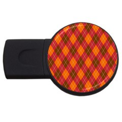 Argyle Pattern Background Wallpaper In Brown Orange And Red Usb Flash Drive Round (2 Gb)