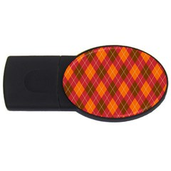 Argyle Pattern Background Wallpaper In Brown Orange And Red USB Flash Drive Oval (1 GB)