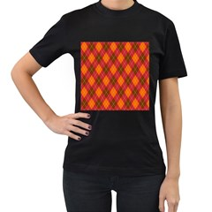 Argyle Pattern Background Wallpaper In Brown Orange And Red Women s T Shirt (black) (two Sided)