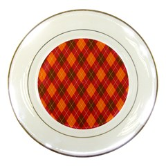 Argyle Pattern Background Wallpaper In Brown Orange And Red Porcelain Plates