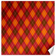 Argyle Pattern Background Wallpaper In Brown Orange And Red Canvas 20  X 20