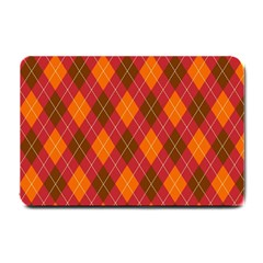 Argyle Pattern Background Wallpaper In Brown Orange And Red Small Doormat