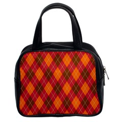 Argyle Pattern Background Wallpaper In Brown Orange And Red Classic Handbags (2 Sides)