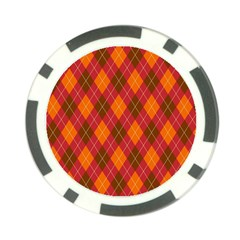 Argyle Pattern Background Wallpaper In Brown Orange And Red Poker Chip Card Guard (10 pack)