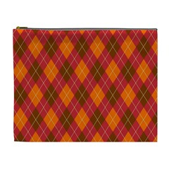 Argyle Pattern Background Wallpaper In Brown Orange And Red Cosmetic Bag (xl)