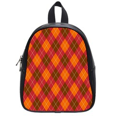 Argyle Pattern Background Wallpaper In Brown Orange And Red School Bags (Small)