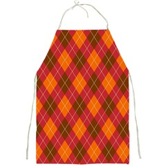 Argyle Pattern Background Wallpaper In Brown Orange And Red Full Print Aprons
