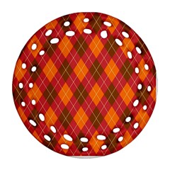 Argyle Pattern Background Wallpaper In Brown Orange And Red Round Filigree Ornament (two Sides)