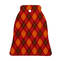 Argyle Pattern Background Wallpaper In Brown Orange And Red Bell Ornament (two Sides)