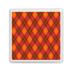 Argyle Pattern Background Wallpaper In Brown Orange And Red Memory Card Reader (square)