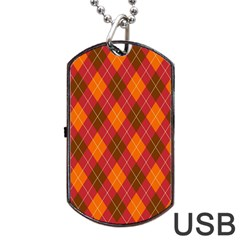 Argyle Pattern Background Wallpaper In Brown Orange And Red Dog Tag USB Flash (One Side)