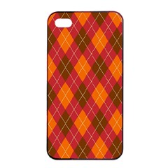 Argyle Pattern Background Wallpaper In Brown Orange And Red Apple iPhone 4/4s Seamless Case (Black)