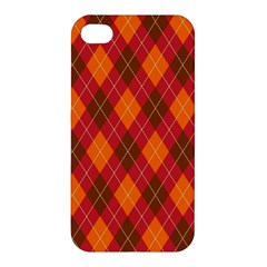Argyle Pattern Background Wallpaper In Brown Orange And Red Apple iPhone 4/4S Premium Hardshell Case