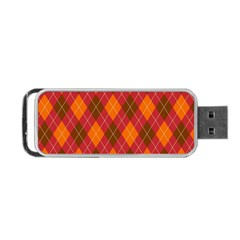 Argyle Pattern Background Wallpaper In Brown Orange And Red Portable USB Flash (Two Sides)