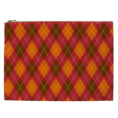 Argyle Pattern Background Wallpaper In Brown Orange And Red Cosmetic Bag (XXL)