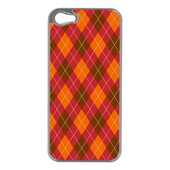 Argyle Pattern Background Wallpaper In Brown Orange And Red Apple Iphone 5 Case (silver)
