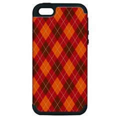 Argyle Pattern Background Wallpaper In Brown Orange And Red Apple iPhone 5 Hardshell Case (PC+Silicone)