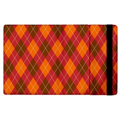 Argyle Pattern Background Wallpaper In Brown Orange And Red Apple iPad 3/4 Flip Case