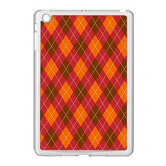 Argyle Pattern Background Wallpaper In Brown Orange And Red Apple iPad Mini Case (White)