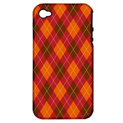 Argyle Pattern Background Wallpaper In Brown Orange And Red Apple Iphone 4/4s Hardshell Case (pc+silicone)