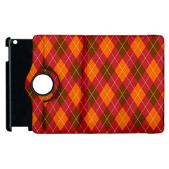 Argyle Pattern Background Wallpaper In Brown Orange And Red Apple Ipad 3/4 Flip 360 Case