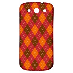 Argyle Pattern Background Wallpaper In Brown Orange And Red Samsung Galaxy S3 S III Classic Hardshell Back Case