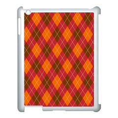 Argyle Pattern Background Wallpaper In Brown Orange And Red Apple Ipad 3/4 Case (white)