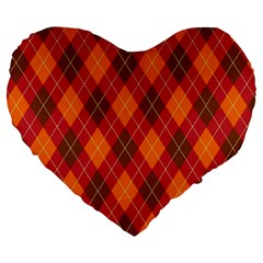 Argyle Pattern Background Wallpaper In Brown Orange And Red Large 19  Premium Heart Shape Cushions