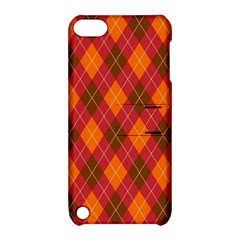 Argyle Pattern Background Wallpaper In Brown Orange And Red Apple iPod Touch 5 Hardshell Case with Stand