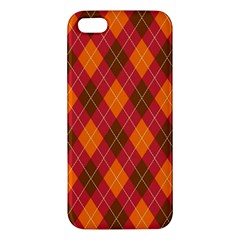 Argyle Pattern Background Wallpaper In Brown Orange And Red Apple iPhone 5 Premium Hardshell Case